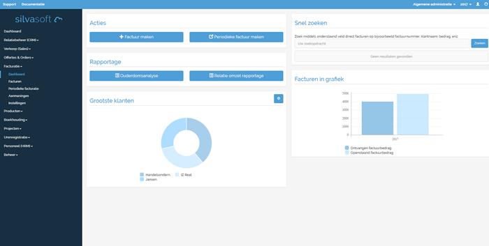 Facturatie dashboard met diverse actie mogelijkheden, rapportages en handige overzichten.