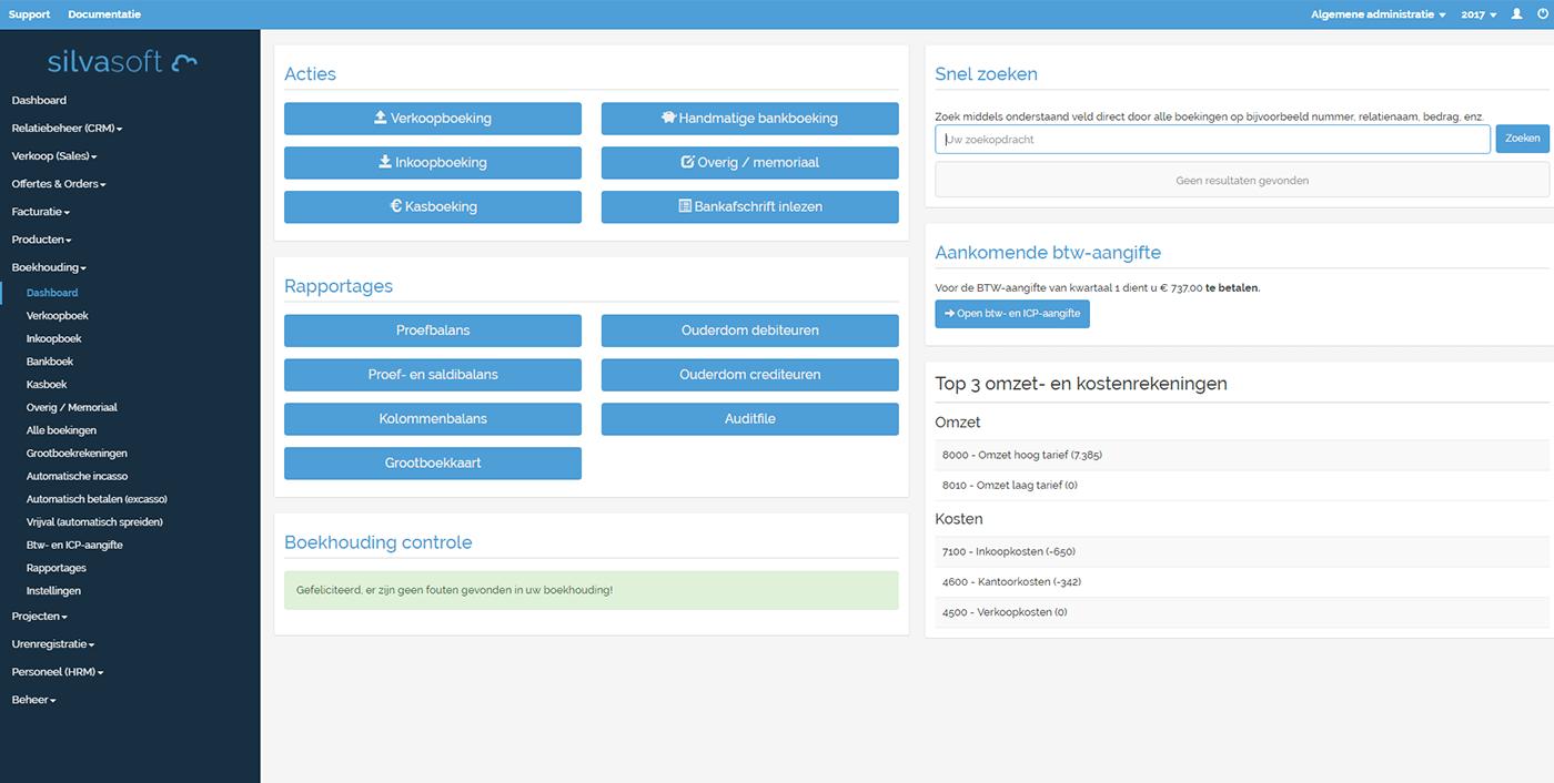 Dashboard van de module boekhouden.