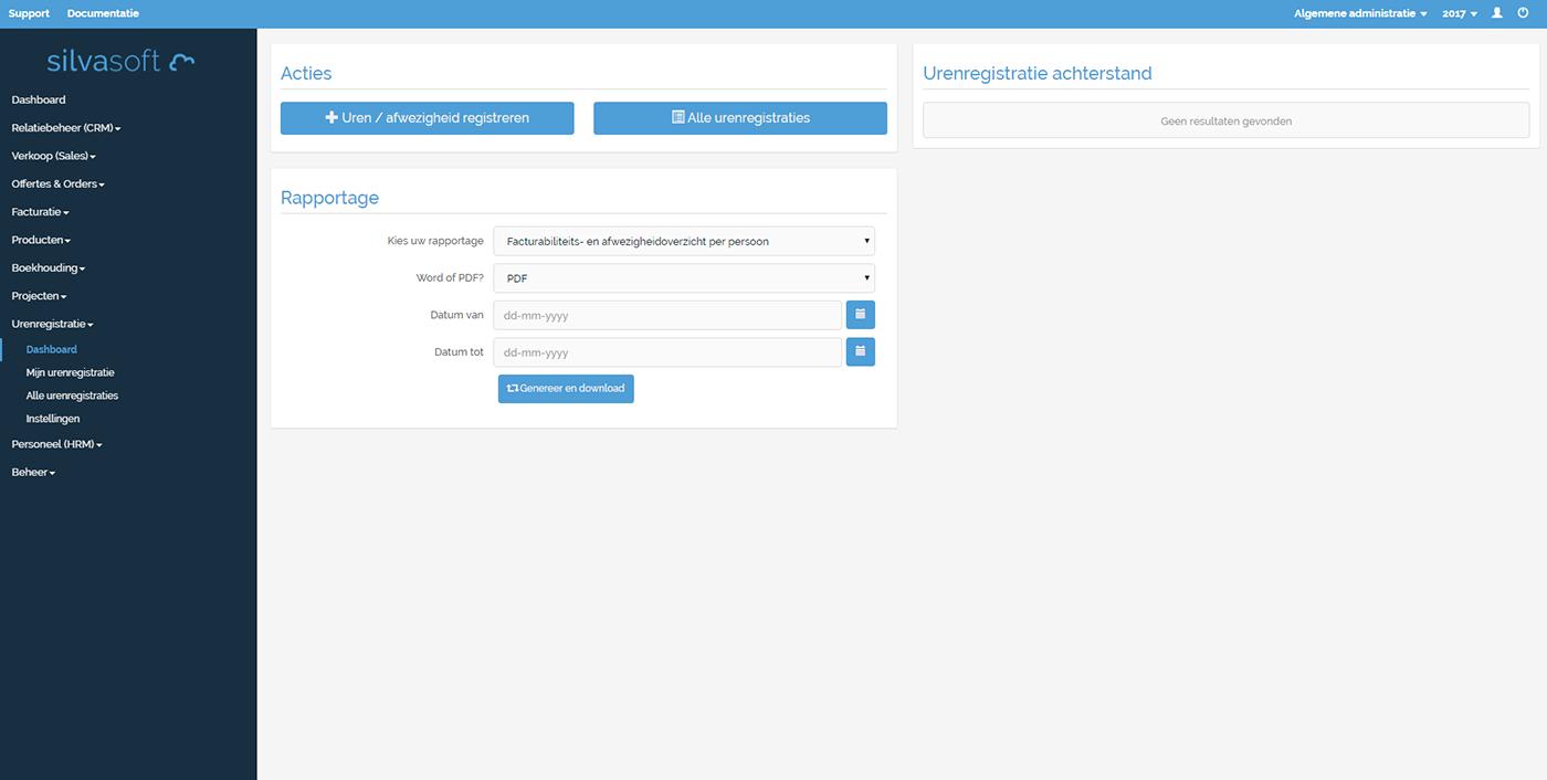 Dashboard van de module Urenregistratie.