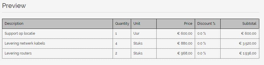 a1510b0bb68c41 Na het wijzigen van de titels ziet u direct een voorbeeld van uw  factuurregel tabel. Dit zou er bijvoorbeeld uit kunnen zien als onderstaand  voorbeeld.