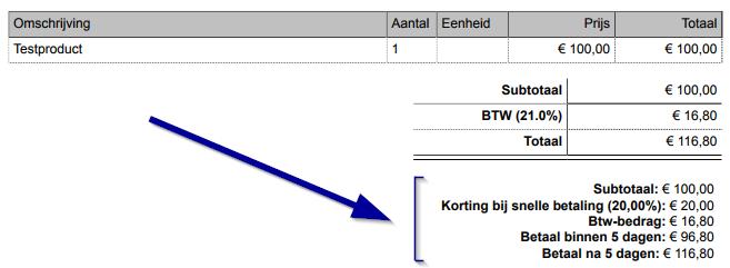 factuur met korting voorbeeld België: korting contant (factuurkorting voor snelle betalers