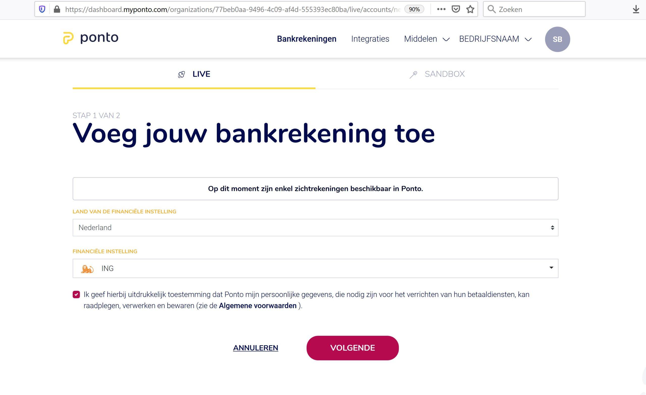 Bankrekening toevoegen aan Ponto