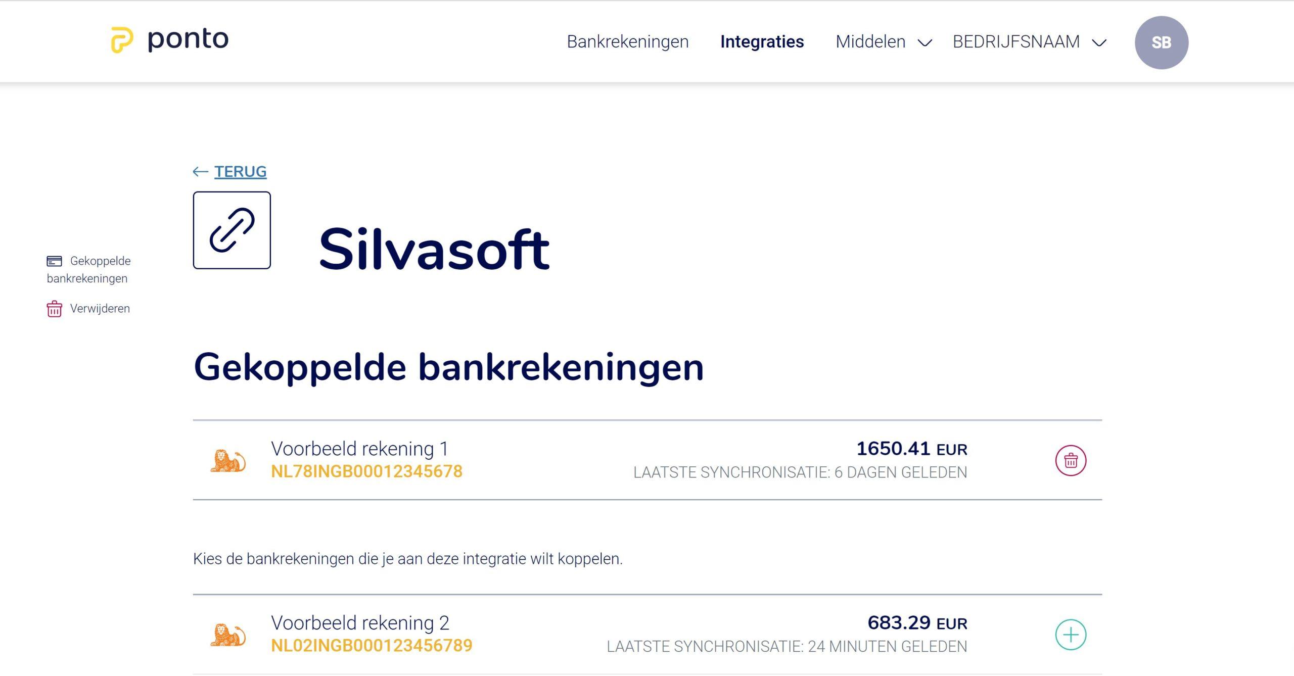 Bankrekening toevoegen aan de Silvasoft integratie vanuit Ponto