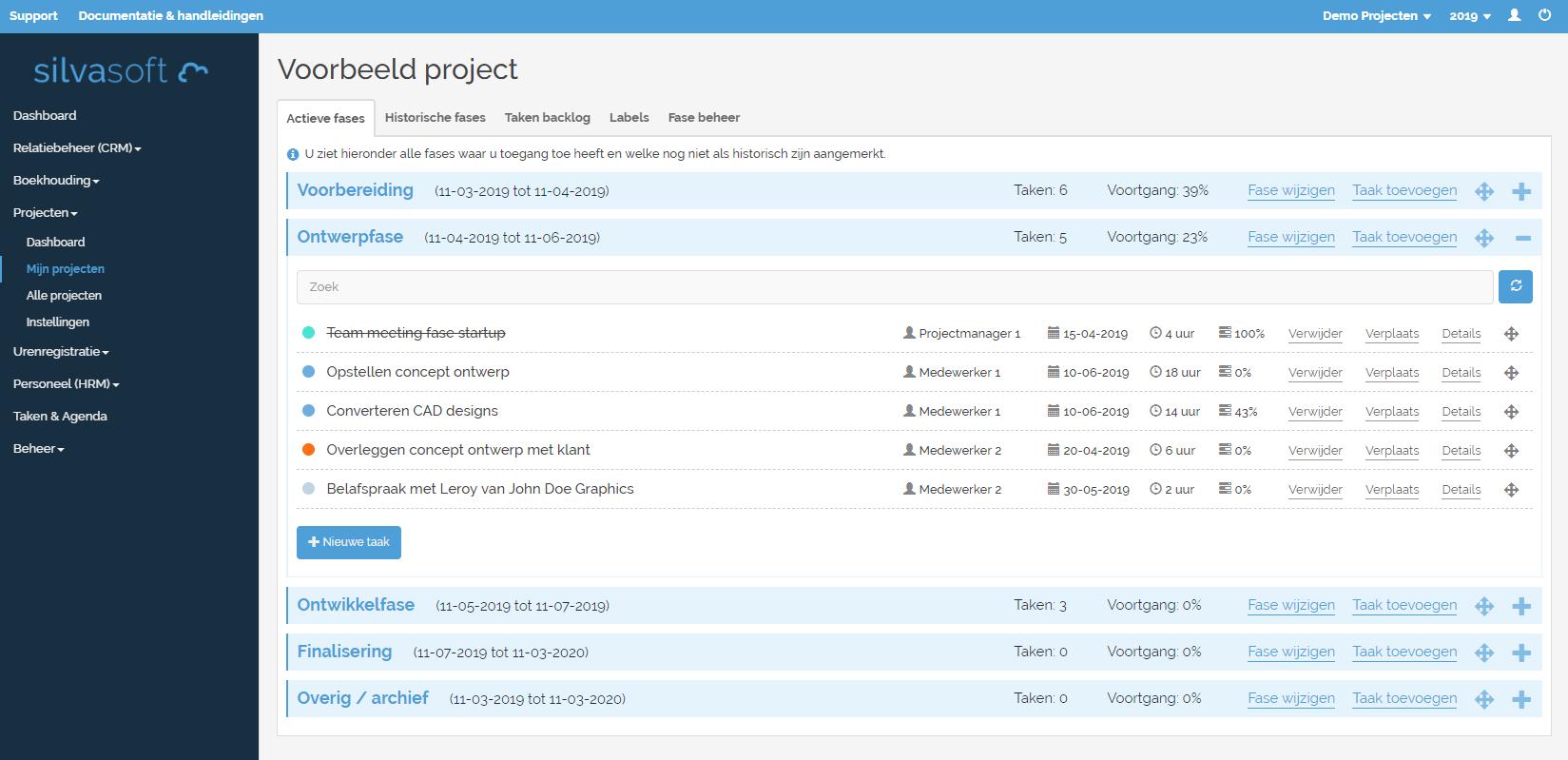 Complete projectadministratie met projectfases en taakbeheer